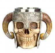 Пивная кружка 500 мл череп с рогами викинг