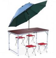 Стол раскладной для пикника и рыбалки с 4 стульями и зонт Коричневый
