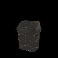 Ведро для мусора с поворотной крышкой Elif 7 л Черный мрамор (341)