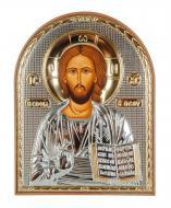 Икона серебряная Иисуса Христа Спасителя 5,8х7,5 см арочной формы в пластиковом киоте