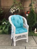 Крісло дерев'яне Woody Стандарт з подушкою садове Білий/Блакитний