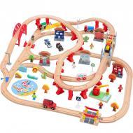 Іграшкова залізниця з дерева Iekool-playtive 110 деталей 110x98