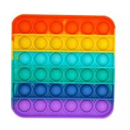 Игрушка-пупырка антистресс сенсорная Pop It квадрат Разноцветный радужный