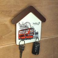 Настенная ключница London Автобус 18х18см 3 крючка (kmm0501)