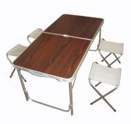 Набор мебели для пикника Fold Table FT-2107 стол раскладной и 4 стула Коричневый