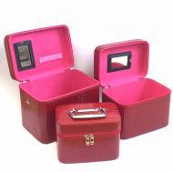 Кейс для косметики и украшений 3в1 3 шт. Красный