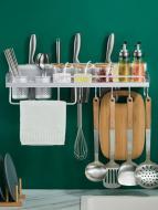 Полиця органайзер для кухні 50 см Срібний (36599)
