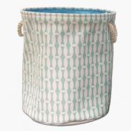 Кошик для білизни Berni Home Бамбук тканинний з ручками Зелений/Білий (49136)