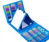 Набір для малювання в валізі з мольбертом 208 предметів Блакитний