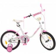 Велосипед детский PROF1 Flower 16' с вспомогательными колёсами Белыай/Розовый (38504364)