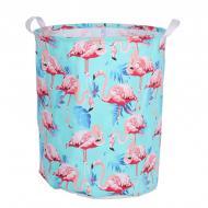 Кошик для білизни Berni Home Tropical flamingo тканинний з ручками Блакитний (57272)