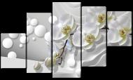 Модульная картина Interno Искусственный холст Орхидеи и жемчуга   123х69см (Z1232M)