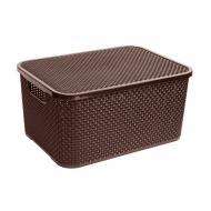 Ящик для зберігання BranQ Rattan з кришкою 19 л Шоколад (BRQ1724-cho)