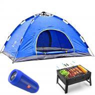 Палатка шестиместная с москитной сеткой + колонка + мангал