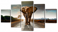 Модульная картина Interno Искусственный холст Слон 142x80см (Z863L)