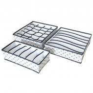 Набір із 3 органайзерів для білизни Supretto білий в чорний горошок 57220001