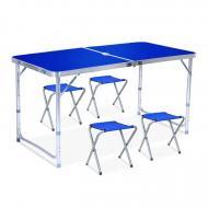 Стол раскладной туристический для пикника и рыбалки с 4 стульями Синий