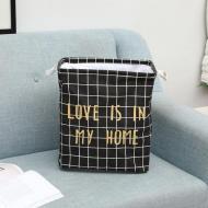 Кошик для білизни Berni Home Love тканинний на зав'язках Чорний (57274)