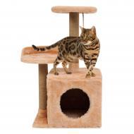 Будиночок-когтеточка Бусинка з полицею для кішки Бежевий