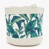 Кошик для білизни Berni Home Big plant тканинний з ручками Білий/Зелений (49129)