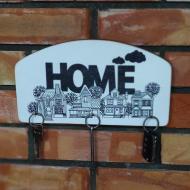 Деревянная настенная ключница Home 29,5х16см на 5 крючков винтажный стиль(kfg0409)
