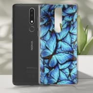 Чохол BoxFace Nokia 3.1 Plus Лазурні Метелики Чорний силікон зі склом (36116-up1550-37737)