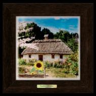 Картина декоративная металл/дерево Украина Дом с подсолнечником 280х280 мм Коричневый (уккм05к20х20)