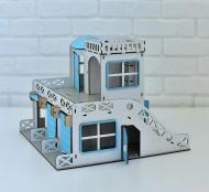 Дитячий гараж-парковка NestWood Двоповерховий білий з синім (rkdp001s)
