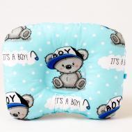 Детская ортопедическая подушка BabySoon Мишутка в кепке 22х26 см Голубой (П-209)