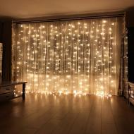 Новорічна світлодіодна гірлянда шторка дощ Водоспад YS-UK003 240 LED 2х2 м Теплий білий + пульт ДУ
