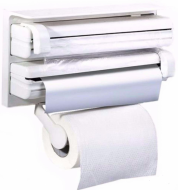Тримач для паперових рушників і харчової плівки UKC Triple Paper Dispenser Білий (4200673399)
