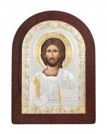 Икона Спаситель Agio Silver 20x15 см серебро 925° с позолотой Коричневый