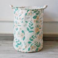 Кошик для білизни Berni Home Квіти тканинний з ручками Білий/Зелений (49382)