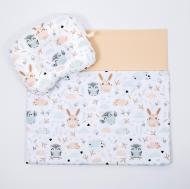 Комплект в коляску BabySoon Совушки и зайки одеяло 65х75 см подушка 22х26 см Бежевый (К-107)