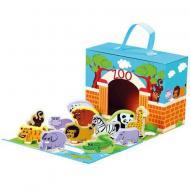 Детская настольная игра зоопарк в коробке с фигурками диких животных и игровым полем Bino
