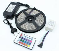 Світлодіодна стрічка RGB 5050 з пультом та блоком живлення 5 м ширина 1 см
