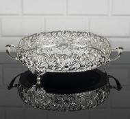 Фруктовница Zeyve металлическая с зеркальным основанием 25 см Серебристый (120G)