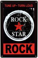 Табличка металлическая Rock Star Tune Up, Turn Loud, Rock 20x30 см
