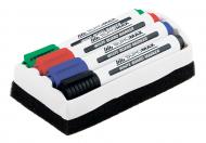 Набір маркерів Buromax 4 шт + губка для сухостиральних дощок 2-4 мм