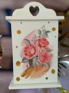 Ключница Keys 0501-004 Роза с дверкой 27,5x16,5 см Белый (100297)