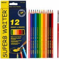 Олівці кольорові Marco Superb Writer акварельні з пензликом 12 кольорiв (4120-12CB)