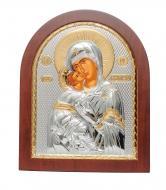 Икона серебряная Владимирская Божья Матерь 6,8x5,2 см арочной формы на дереве