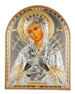 Икона серебряная Семистрельная Божья Матерь 15,5х12 см арочной формы в пластиковом киоте