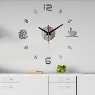 Копия 3D-часы настенные Coffee для кухни Зеркально-серебристый