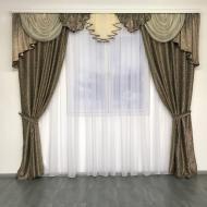 Готовые плотные шторы для зала блекаут 150х270 см 2 шт. с ламбрекеном ALBO Шоколадный