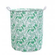 Кошик для білизни Berni Home Папуги тканинний з ручками Зелений/Білий (52329)