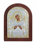 Икона Божией Матери Семистрельная Agio Silver 10,3x7,5 см серебро 925° с позолотой Коричневый