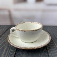 Чашка чайная с блюдцем Porland Seasons Beige керамическая 200 мл 1 шт. Бежевый
