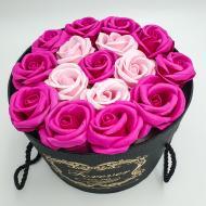 Подарунковий набір Forever з трояндами з мила в шляпній коробці 19х19 см Рожевий