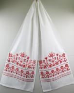 Рушник льняной Галерея льна Свадебный 45х210 см Белый с красной вышивкой (82-24/090/000/76)